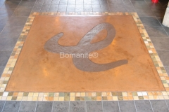 Bomanite Imprint Systems with Bomacron Textured Pattern Imprinted Concrete at Enjoy Restaurant.